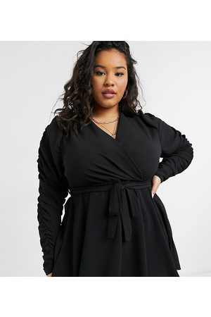 Yours Wrap blouse with ruched sleeves in