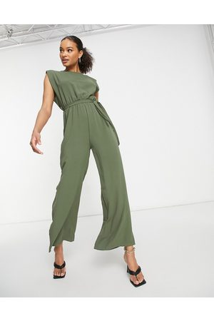 I saw it first Shoulder pad jumpsuit in khaki