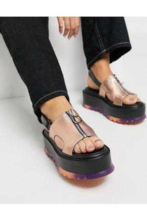 Koi Footwear Crimson Aura vegan chunky sandals in orange holographic