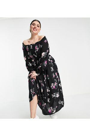 Yours Long sleeve shirred bardot maxi dress in multi