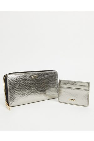Paul Costelloe Leather wallet and card holder gift set in gunmetal