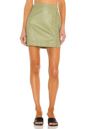 KENDALL + KYLIE Vegan Leather Mini Skirt in Sage.
