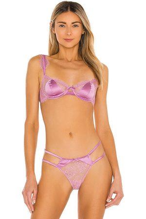 FLEUR DU MAL Frankie Lace Balconette Bra in Pink.