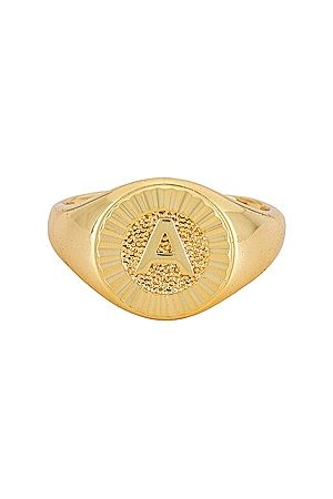 BRACHA Women Rings - Initial Medallion Signet Ring in Metallic .
