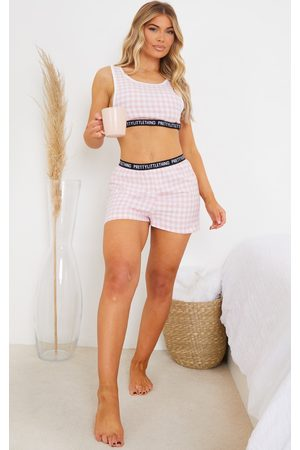 PRETTYLITTLETHING Pale Taping Detail Mix And Match Check PJ Shorts