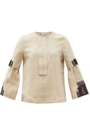 ZEUS+DIONE Methoni Embroidered Linen Blouse - Womens - Dark