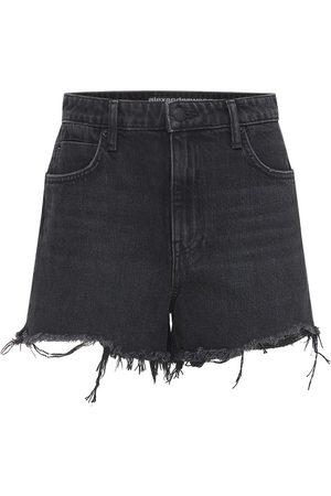 Alexander Wang Cotton Denim Shorts W/ Raw Cut Hem