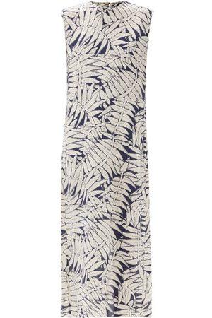 Raey Fern-print Silk Crepe De Chine Maxi Dress - Womens - Navy Print