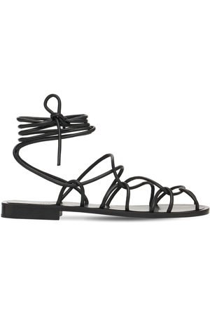 Khaite 10mm Lyon Leather Lace-up Sandals