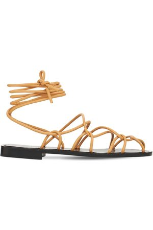 Khaite Women Sandals - 10mm Lyon Leather Lace-up Sandals