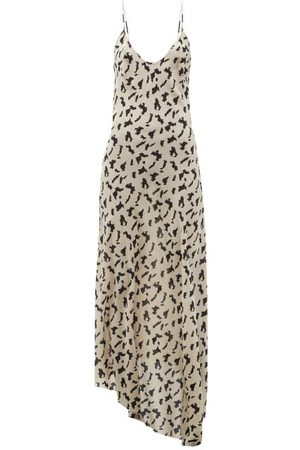 Raey Dip-hem Abstract-print Silk Crepe-de-chine Dress - Womens - Print