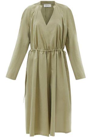 LEMAIRE Drawstring-waist Cotton-blend Poplin Dress - Womens - Light
