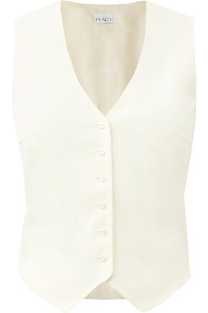 Raey Women Waistcoats - Single-breasted Wool-twill Waistcoat - Womens - Ivory