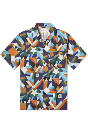 Albam Short Sleeve Miles Patchwork Printed Camp Collar Shirt
