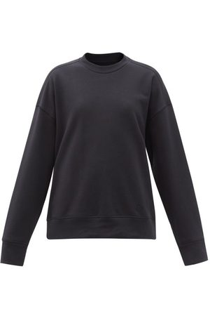 Jil Sander Women Sweatshirts - Logo-embroidered Cotton-jersey Sweatshirt - Womens - Dark