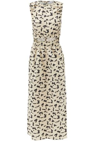 Raey Elasticated Cut-out Abstract-print Cotton Dress - Womens - Print