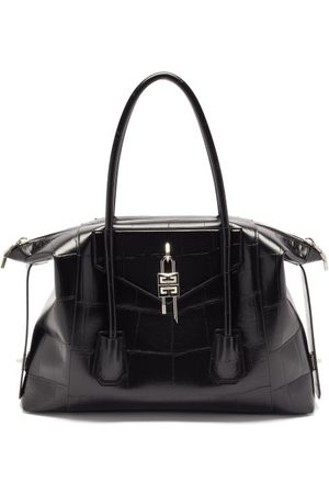 Givenchy Women Purses - Antigona Lock Medium Crocodile-effect Leather Bag - Womens