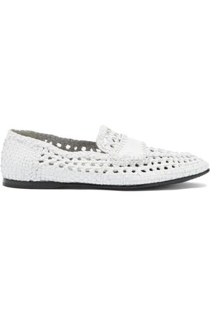 Dolce & Gabbana Men Loafers - Logo-debossed Woven-leather Loafers - Mens
