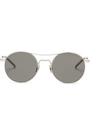 Saint Laurent Men Aviators - Aviator Metal Sunglasses - Mens - Grey