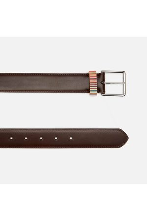 Paul Smith Men Belts - Men's Signature Stripe Keeper Leather Belt