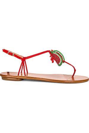 Aquazzura Women Flat Shoes - Patillita Flat Sandal in Red