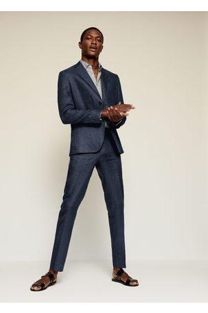 MANGO Slim fit linen suit blazer