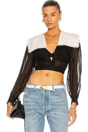 DANIELE CARLOTTA Collared Georgette Bow Shirt in