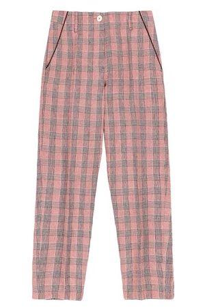 MOMONÍ Women Straight Leg Pants - Lira trousers in check yarn-dyed linen