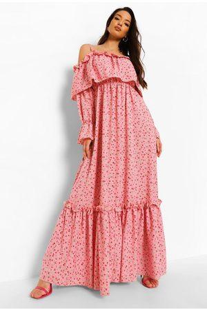 Boohoo Women Maxi Dresses - Womens Ruffle Cold Shoulder Maxi Dress - - 4