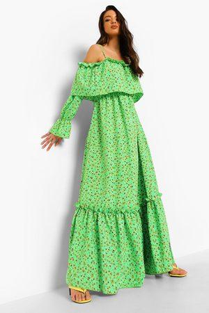 Boohoo Womens Ruffle Cold Shoulder Maxi Dress - - 8