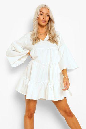 Boohoo Womens V Neck Tired Smock Dress - - 4