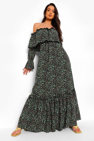 Boohoo Womens Ruffle Cold Shoulder Maxi Dress - - 4