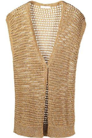 Fabiana Filippi Women Cardigans - Metallic open-knit sleeveless cardigan