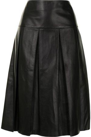 Salvatore Ferragamo Box-pleat leather skirt