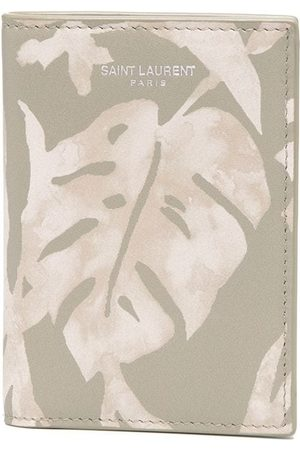 Saint Laurent Leaf-print logo cardholder - Neutrals