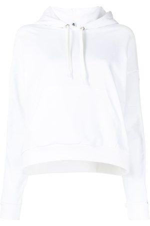Moschino Women Hoodies - Logo-stripe drawstring hoodie