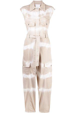 Stella McCartney Tie-dye belted denim jumpsuit - Neutrals