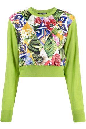 Dolce & Gabbana Floral panel knit jumper