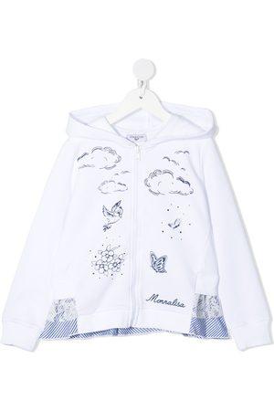 MONNALISA Girls Hoodies - Graphic-print ruffle hem hoodie