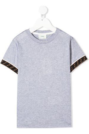 Fendi Kids Boys Short Sleeve - Logo-trim short-sleeve T-shirt - Grey