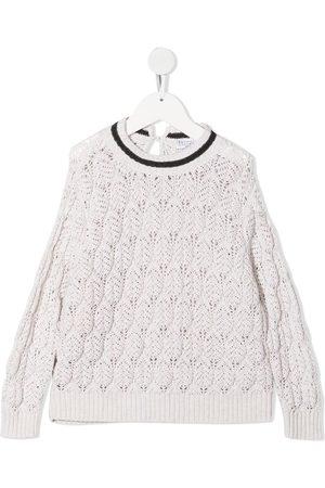Brunello Cucinelli Perforated knit jumper - Neutrals