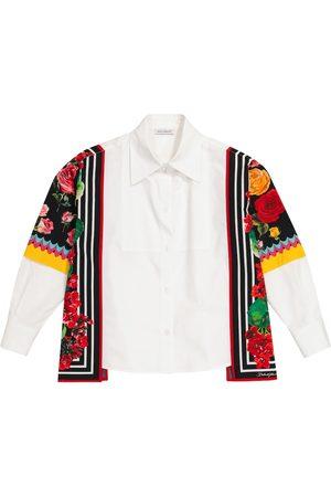 Dolce & Gabbana Floral-trimmed cotton shirt