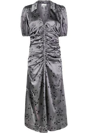 Ganni Floral-print satin dress - Grey