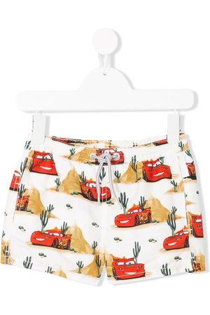 MC2 SAINT BARTH Boys Swim Shorts - Racing car print swim shorts - Multicolour