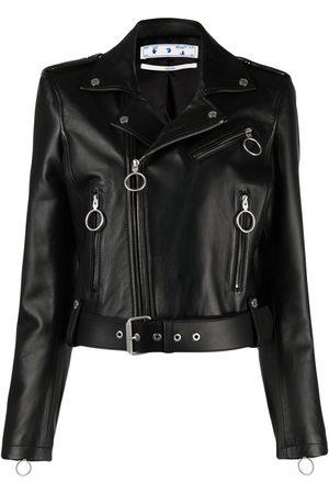 OFF-WHITE Belted cropped biker jacket
