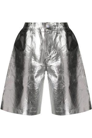 Comme des Garçons Crinkle-finished metallic shorts