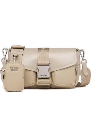 Prada Pocket logo-strap crossbody bag - Neutrals