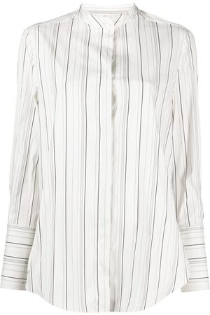 TELA Striped mandarin-collar shirt