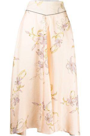FORTE FORTE Floral-print silk skirt - Neutrals