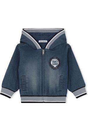 Dolce & Gabbana Logo-embroidered denim hoodie